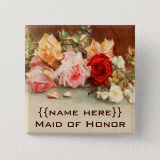 Vintage Hochzeits-Abzeichen-Antiken-Rosen-Blumen Quadratischer Button 5,1 Cm