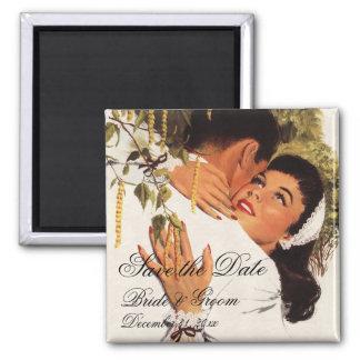 Vintage Hochzeits-Antrag-Umarmung Save the Date Quadratischer Magnet