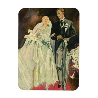 Vintage Hochzeits-Braut-Bräutigam-Jungvermählten Magnet