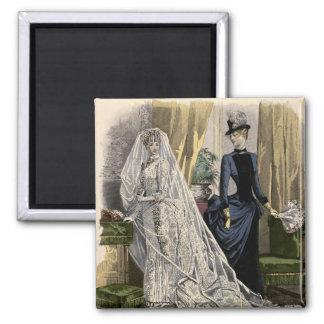 Vintage Hochzeits-Brautporträt, viktorianische Quadratischer Magnet