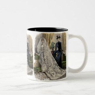 Vintage Hochzeits-Brautporträt, viktorianische Zweifarbige Tasse