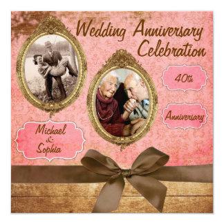 Vintage Hochzeits-Jahrestags-Einladung Quadratische 13,3 Cm Einladungskarte