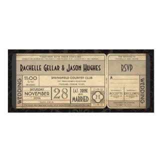 Vintage Hochzeits-Karten-Einladung mit UAWG II 3,0 10,2 X 23,5 Cm Einladungskarte