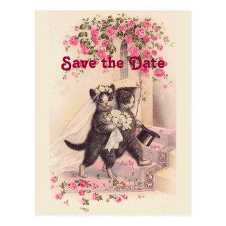 Vintage Hochzeits-Katzen-Save the Date Postkarte Postkarte
