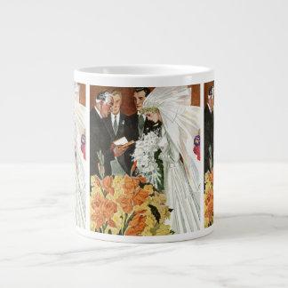 Vintage Hochzeits-Zeremonie Braut-Bräutigam-Jungv Jumbo-Tassen