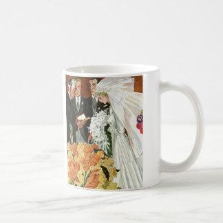 Vintage Hochzeits-Zeremonie mit Braut und Kaffeetasse