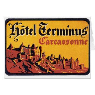 Vintage Hotel-Aufkleber-Kunst Reise-Carcassonne Karte