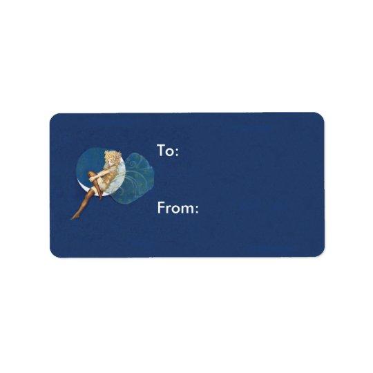 Vintage hübsche blaue feenhafte Strumpf-blauer Adressetiketten