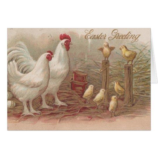 Vintage Huhn-Familie Ostern Grußkarte