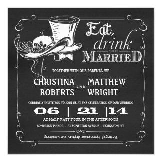Vintage Hut-Tafel-Hochzeits-Einladungen Quadratische 13,3 Cm Einladungskarte