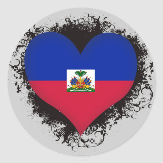 Vintage i-Liebe Haiti Runder Aufkleber