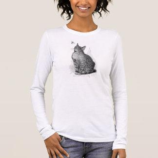 Vintage Illustration der Katze ein Insekt Langarm T-Shirt