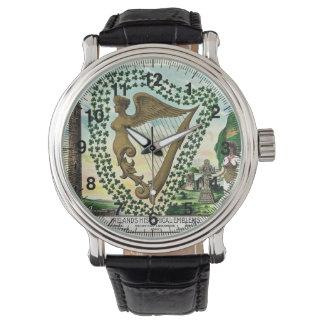Vintage Illustration der Kleeblattfrauenharfe Uhr