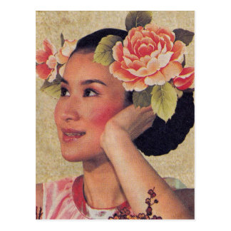 Vintage Illustrations-Chinese-Frau Postkarte