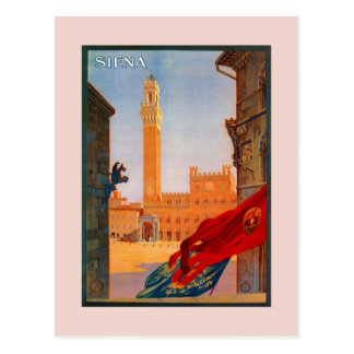 Vintage italienische Reisewerbung Siena Postkarte