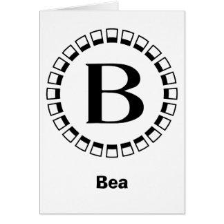 Vintage Jahrhundertwende, Monogramm B Mitteilungskarte