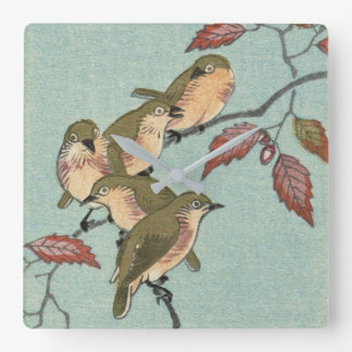Vintage japanische feine grüne Vögel der Kunst-  Quadratische Wanduhr