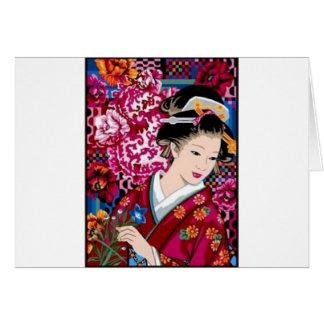 Vintage japanische Frau im Kimono Grußkarte
