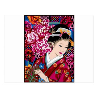 Vintage japanische Frau im Kimono Postkarte