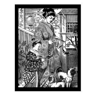 Vintage japanische Frau mit Möpse Postkarte
