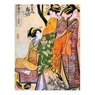 Vintage japanische Geisha-Grafik Postkarte