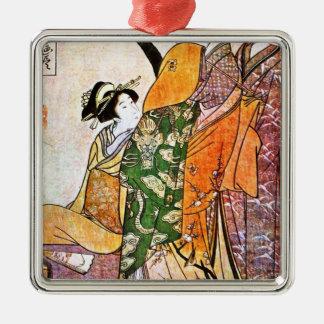 Vintage japanische Geisha-Grafik Silbernes Ornament