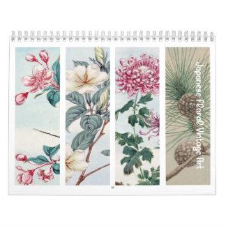 Vintage japanische mit Blumenkunst Abreißkalender