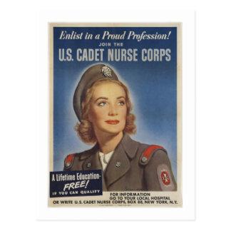 Vintage Kadett-Krankenschwestern Postkarte