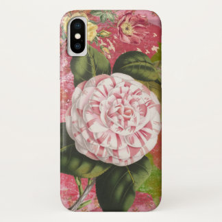 Vintage Kamelien-Collagen-elegantes Rosa iPhone X Hülle