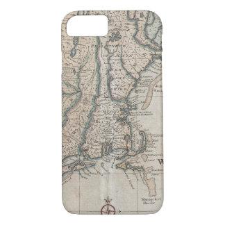 Vintage Karte der Neu-England Küste (1747) iPhone 8/7 Hülle