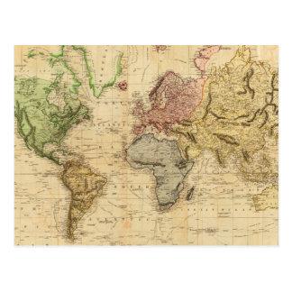 Vintage Karte der Welt (1831) Postkarte