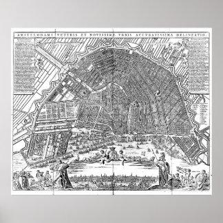 Vintage Karte von Amsterdam (1721) BW Poster