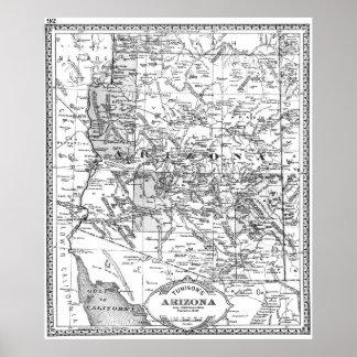 Vintage Karte von Arizona (1881) BW Poster