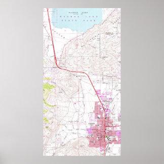 Vintage Karte von Carson City u. von Washoe See NV Poster