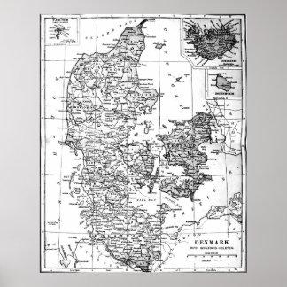 Vintage Karte von Dänemark (1905) BW Poster