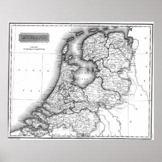Vintage Karte von Holland (1817) BW Poster