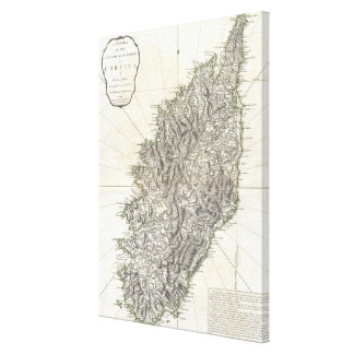 Vintage Karte von Korsika (1794) Leinwand Drucke