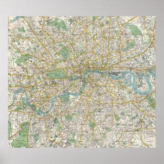 Vintage Karte von London England (1900) Poster