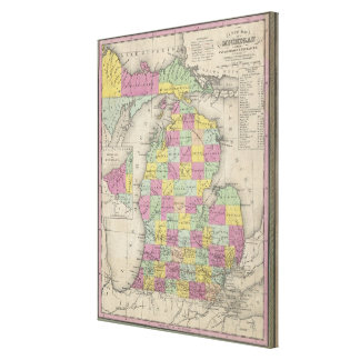 Vintage Karte von Michigan (1853) Galerie Gefaltete Leinwand