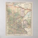 Vintage Karte von Minnesota (1891) Poster