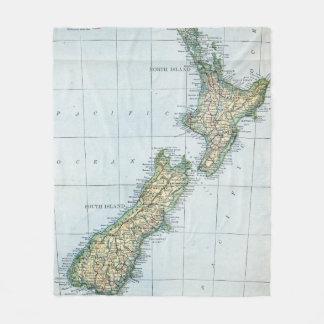 Vintage Karte von Neuseeland (1921) Fleecedecke