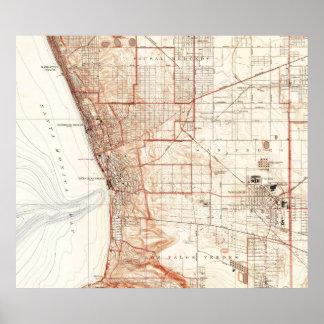 Vintage Karte von Redondo Beach u. von Torrance CA Poster