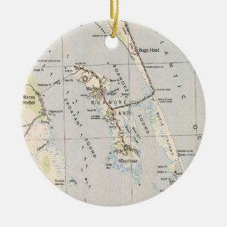 Vintage Karte von Roanoke-Insel u. von äußeren Keramik Ornament