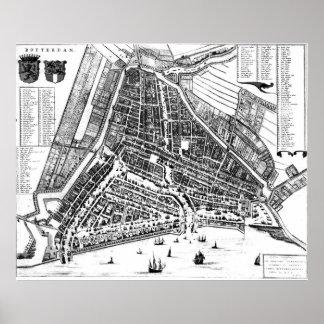Vintage Karte von Rotterdam die Niederlande (BW Poster
