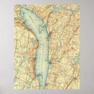 Vintage Karte von Tarrytown NY u. von Hudson Poster