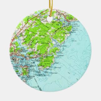 Vintage Karte von York Maine (1956) Keramik Ornament