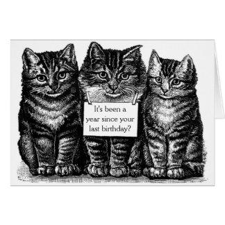 Vintage Katzen-Geburtstags-Karte Grußkarte