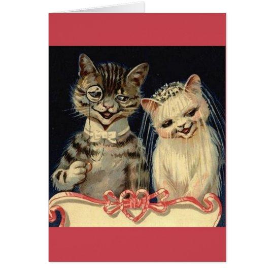 Vintage Katzen-Hochzeits-Gruß-Karte Grußkarte
