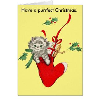 Vintage Katzen-u. Strumpf-Weihnachtskarte Grußkarte