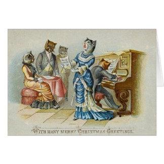 Vintage Katzen-Weihnachtsgruß-Karte Grußkarte